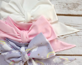 Gorgeous Wrap Trio (3 Gorgeous Wraps)- Blanc, Pink & Rainbow Gorgeous Wraps; headwraps; fabric head wraps; bows