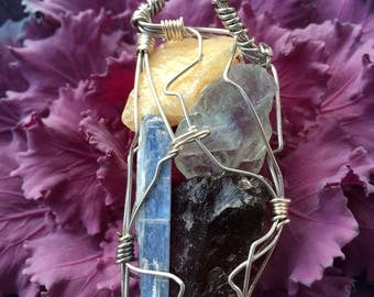 Blue Kyanite, Fluorite,Yellow Calcite, Amethyst and Quartz Pendant