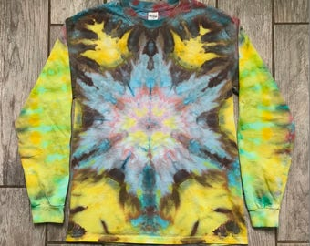 Sunflakes and Snowrays Ice Dyed Shirt (Women's M) 17-088