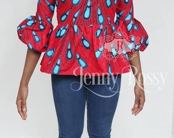 New African Clothing peplum top lantern sleeves Ankara puffy sleeves top African women top Red Ankara top