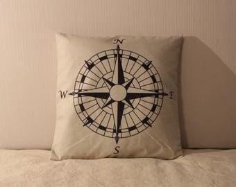 Maritime Nautical Compass Plush Pillow