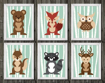 Woodland nursery, woodland prints, woodland nursery decor, woodland animals nursery, bear, fox, owl, squirrel, raccoon, deer, woodland boys