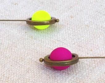 Neon Pearl drop earrings minimal