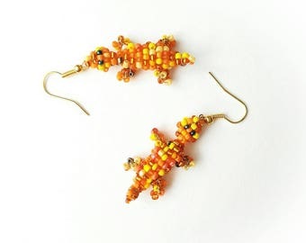 Orange lizard beaded earrings animal seed beads beadwork vibrant unique boho gift for her for Mom exclusive designer gold jewelry earring