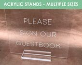 Acrylic Stands, stands for acrylic signs, acrylic sign stand, lucite sign stand, sign holder, place card holder, table number stand, acrylic