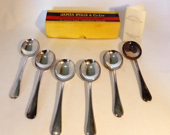 James Ryals & Co Ltd, Sheffield, England set of 6 silver plated A1 soup spoons – original from the 1950s