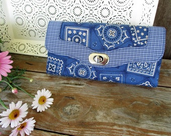 Ladies Organizer Clutch Wallet, Western Kerchief Accessory, Blue Fabric Purse, Accordion Necessary Wallet, Country Girl Gift, Emmaline Bags