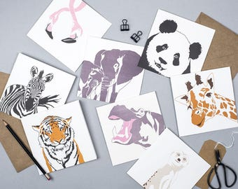 Card pack - Safari Animals - Blank cards - Letterpress Cards - Card Set - Safari Animal Prints - African Animals - Wild Greeting cards