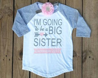 Im Going To Be A Big Sister, Big Sister Shirt, Big Sis, New Baby, Pregnancy Accnoument, Sibling Shirt, Coming Home Outfit, Pink and Grey Set