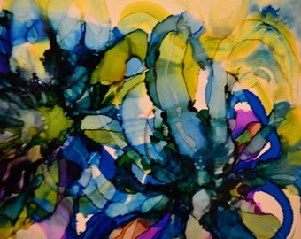 Lilac Abstract Alcohol Ink Art