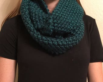 Knit Teal Infinity Scarf