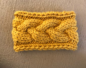 Knit Braided Cable Headband - Mustard