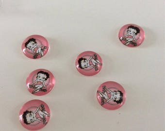 Lot 10 cabochons Betty boop (12mm)