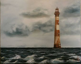 Morris Island Lighthouse Oil Painting Original Signed Or ANY OTHER Read Details