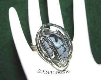 Obsidian snow 9 Cage ring - T52 in his CAGE silver