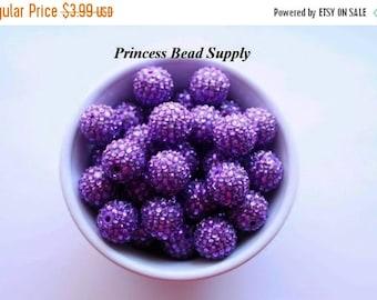 SALE 20mm Dark Purple AB Rhinestone Chunky Beads Set of 10,  Purple Bubble Gum Beads, Gumball Beads, Acrylic Beads