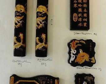 029--Vintage Chinese set of 6  Hu Kaiwen Pine-smoky ink sticks w. gilt scholars figurines & calligraphy.