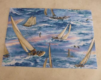 Placemat. Yachts on the ocean. Blue back. Cotton Fabric.  Washable.