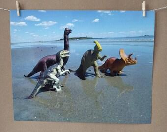 Dinosaur Group Photo Print, Beach Vacation