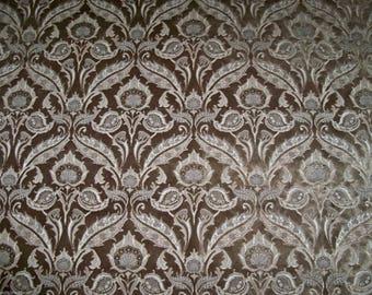 DESIGNER ART NOUVEAU Grandeur Italian Cut Velvet Fabric 10 Yards Taupish-Brown / Beige