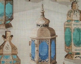 MANUEL CANOVAS MOROCCAN Lanterns Toile Fabric 10 Yards Cream Aqua Sapphire Multi