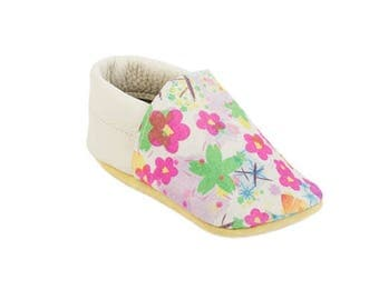 Birthday girl outfit / Vintage floral suede / Australian handmade baby shoes / Eco-friendly rescued leather / Feet shaped barefoot moccasins