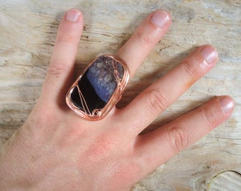 Purple agate and Crystal ring set in copper with Tiffany technique, adjustable, bohostyle, ring for witches
