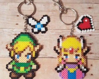 Link and Zelda mini perler bead keychain