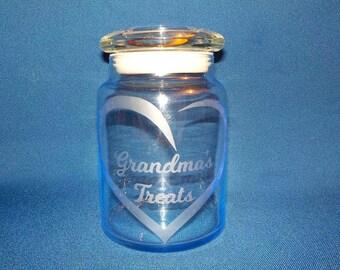 Grandma's Treats Candy Jar, Heart, Etched Glass, Airtight Lid