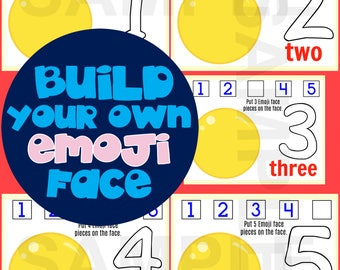 Build Your Own Emoji Printables-Play Dough Mats! 1-5