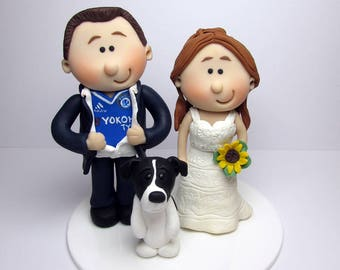 Football fan themed wedding cake topper, Personalised  Bride And Groom,wedding cake figurines,