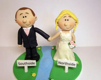 River themed Wedding cake topper, Personalised bride and groom Cake topper, custom wedding,