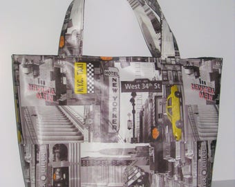 "Tote bag in oilcloth ""Taxi New Yorker"" 38 x 28cm"