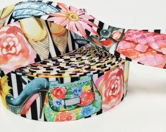 "1.5"" inch Fashion Theme Shoes Purse Flats Heels Flowers on Black white Stripes  -  Printed Grosgrain Ribbon for Hair Bow - Original Design"