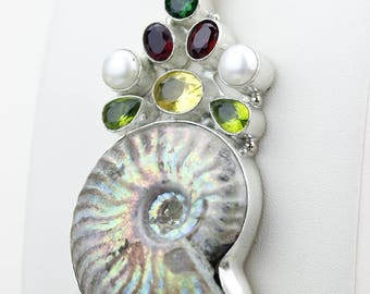 Glacier Ammonite Fossil Citrine Peridot Pearl Garnet 925 S0LID Sterling Silver Pendant + 4MM Snake Chain & Worldwide Shipping p4267