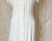 "Charming 1940's Vintage Cream Rayon Crepe Dress with White and Red Buttons, Styled by Winco - 35-37"" Bust, 27-30"" Waist"
