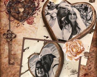 Votre Photo transformé en coeur bois rustique