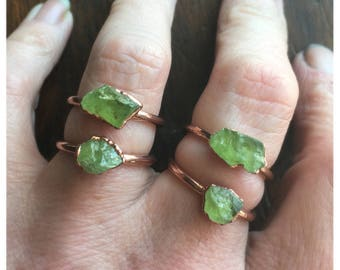 ON SALE Raw Peridot Ring | August Birthstone |  Electroformed Jewelry | Raw Peridot Ring | Crystal Ring | Made to Order Ring | Green Ring
