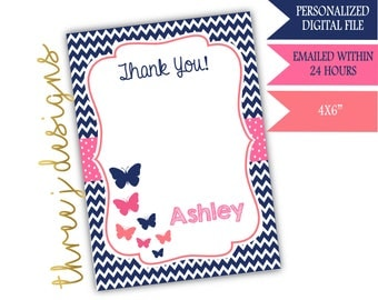 Butterfly Baby Shower Thank You Card - Personalized - Navy Blue, Pink and Coral - Digital File - J003
