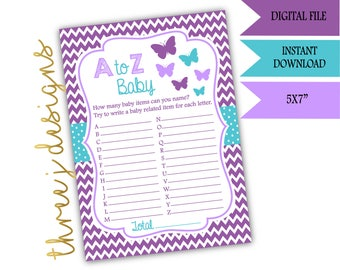 Butterfly Baby Shower A to Z Baby Game - INSTANT DOWNLOAD - Purple and Teal - Digital File - J001