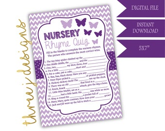 Butterfly Baby Shower Nursery Rhyme Game - INSTANT DOWNLOAD - Plum and Lavender - Digital File - J004