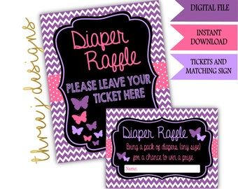Butterfly Baby Shower Diaper Raffle Tickets and Sign - INSTANT DOWNLOAD - Purple and Pink - Digital File - J002