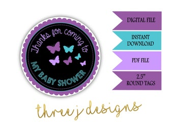 Butterfly Baby Shower Thank You Favor Tags - INSTANT DOWNLOAD - Purple and Teal - Digital File - J001