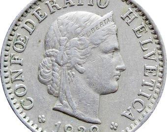 1939 Switzerland 20 Rappen Coin