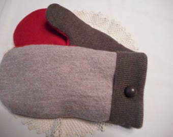 Recycled WOOL MITTENS  Handmade Ladies LARGE  Warm and Cozy Fleece Lined