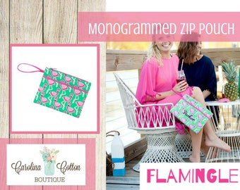 Monogrammed Zip Wrislet/ Monogrammed Pouch/ Monogram Makeup Bag/ Personalized Beach Bag/Monogrammed Accessory Bag/ Flamingle Zip Pouch