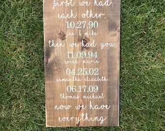First we had each other then we had you now we have everything sign | special dates sign | family sign | wooden sign | handmade sign |