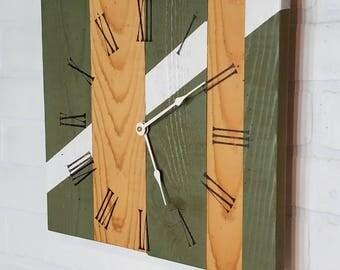 Medium Wood Wall Clock - White Stripe Camo Green