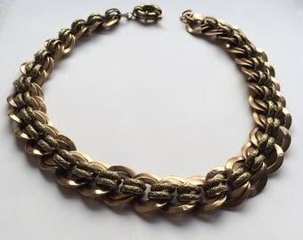 Victorian Collarette Necklace - Brass - Statement - Bolt Ring Clasp - c1880s