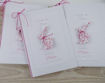 Booklets cover pattern origami rabbit mass liberty fuchsia hand-made original